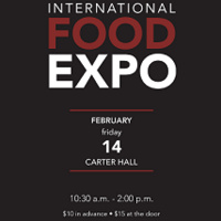 International Food Expo flyer on black background with the event date and time and ticket prices