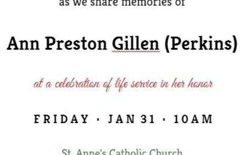 Celebration of Life for former university registrar Ann Preston Gillen (Perkins)