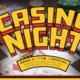 Casino Night flyer with event information, playing cards and poker chips