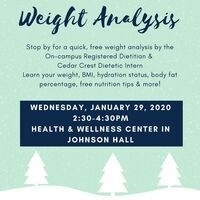 Weight Analysis - Tues 29th 2:30-4:30pm | Dining Services