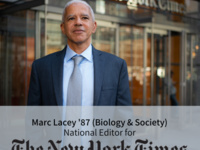 Marc Lacey standing in front of the NYT building