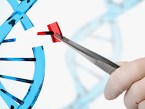 Hand with forceps adjusting DNA chain