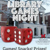 Library Games Night with King library covered in snow with two enlarged game dice
