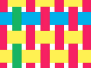graphic of colorful strips woven together