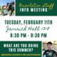 Orientation Staff Info Meeting - Tuesday, Feb. 11th - Jamrich 1318 - 8:30 pm