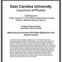 Physics Colloquium on January 31st!- Professor Steven Rodney