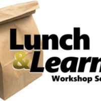 Lunch and Learn Workshop Series text with brown paper lunch bag
