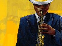 Graphic image of a man playing the saxophone wearing a navy blazer and a white hat with yellow trim.