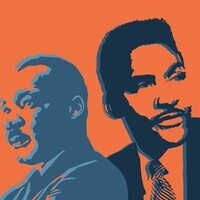 Silhouettes of Martin Luther King Jr and Bayard Rustin