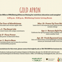 Gold Apron Spring 2020 schedule