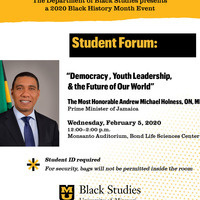 "Black History Month Student Forum: ""Democracy, Youth Leadership and the Future of Our World"""
