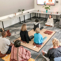 A quiet breathing meditation at the Silicon Valley campus