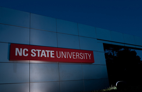 An NC State University sign.