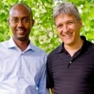 """Jean-Francois Gisimba (L) and Carl Wilkens (R) in London (2011). """"In 1994, against huge odds, two men saved hundreds of Tutsis during the genocide in Rwanda."""""""