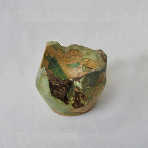 Photograph of spalted wood pottery
