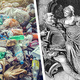 Image of garbage on the left and a man and woman on the right