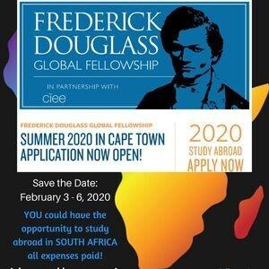 Flyer for Frederick Douglass Global Fellowship Program Outreach Week