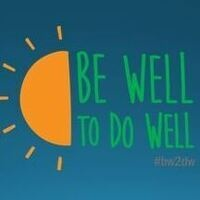 Blue background with Be Well to Do Well text and half a sun