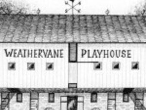 Pen and ink drawing of the old Weathervane Playhouse building.