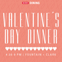 A poster for promoting a Valentine's Day dinner.