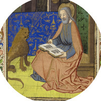 Portrait of St. Mark with a lion. From Book of Hours for the use of Lisieux (Normandy).  France: Rouen School, late 15th century (1480s).