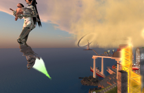 """Cao Fei's """"Live in RMB City"""" 2009. Machinima. Courtesy of the artist, Vitamin Creative Space, and Sprueth Magers"""