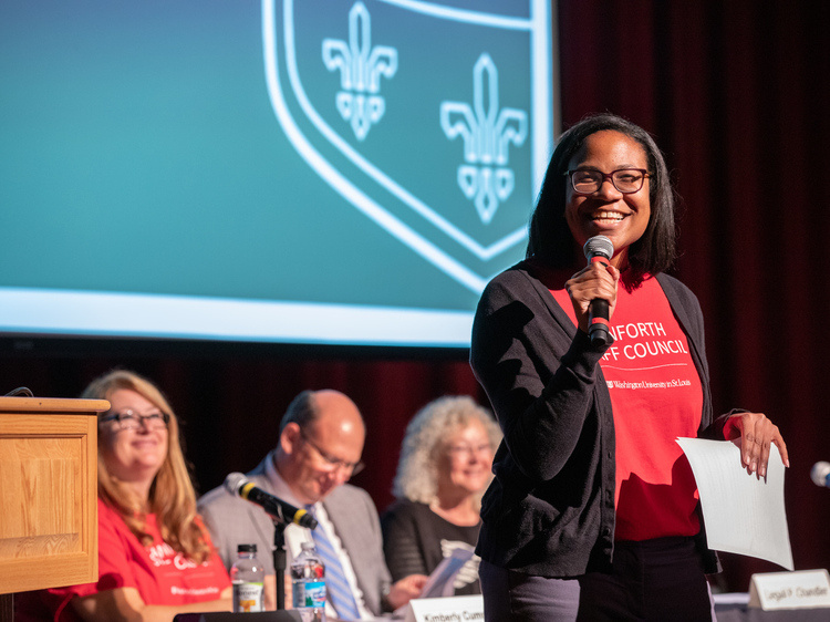 DSC Chair Rosalind Early speaks during the DSC's fall 2019 town hall event.