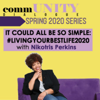 Portrait of commUNITY Dialogue speaker Nikotris Perkins on a purple couch