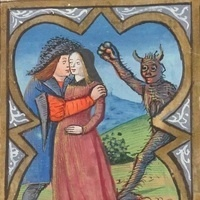 A medieval illumination. Two lovers embrace while a demon approaches in the background. The demon appears to be holding a heart as it reaches out to them.