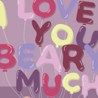 Cartoon balloons spelling I love You Beary Much