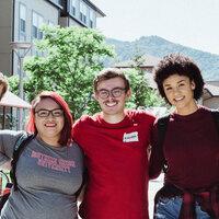 Five SOU Students pose outside Raider Village