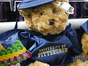 Teddy bear dressed for graduation