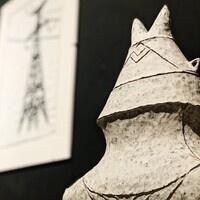Candice Methe, Wing Tip Jar (detail), handbuilt, black stoneware