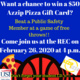 Event information on a flier with a blue background and images of pizza, a basketball and an Azzip gift card
