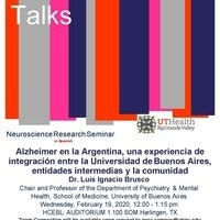 Alzheimer's Talk with Dr. Luis Ignacio Brusco of University of Buenos Aires