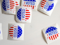 """I Voted"" stickers on white background"