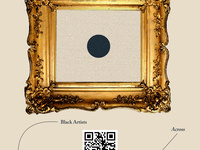 Ornate gold frame with black circle in the center