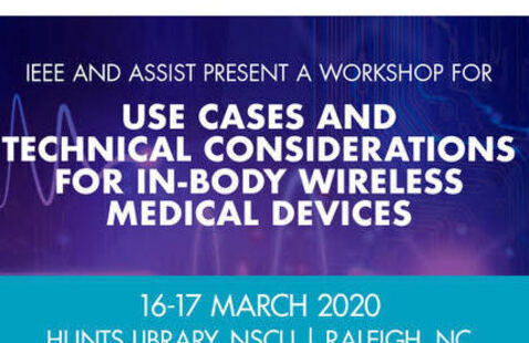 A poster for the Use Cases and Technical Considerations for In-Body Wireless Medical Devices workshop.