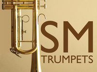 image of trumpet on its end, making a U shape, the letters SM follow, spelling out USM, with the words TRUMPETS below.