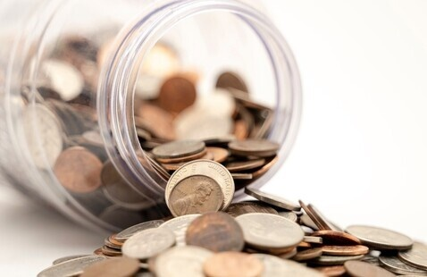 A jar full of coins.
