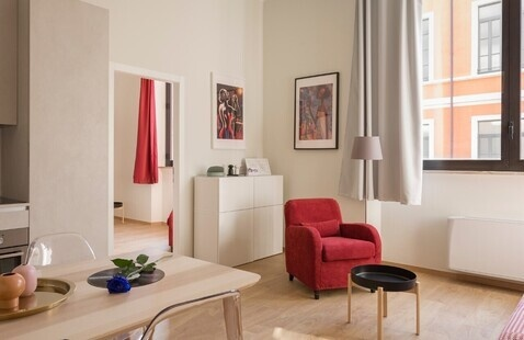 A picture of a room inside an apartment.