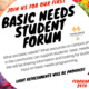 Come join the discussion about basic needs! Open to students, staff, faculty, and community.