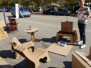 photo of parking space with cardboard furniture