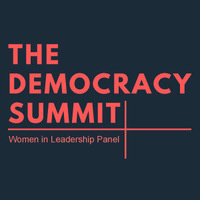 Democracy Summit Women in Leadership Panel in red text
