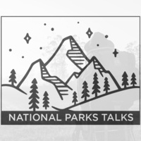 text reads: national parks talks with icon of mountain with trees and an individual hiking.