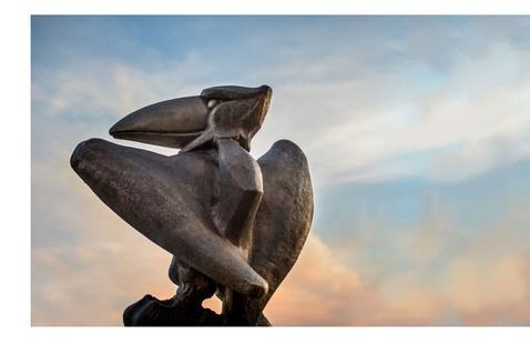Jayhawk Statue- white background