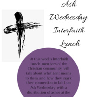 Ash Wednesday Interfaith Lunch poster