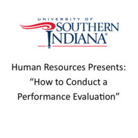 """USI logo with Words """"Human Resources Presents: How to Conduct a Performance Evaluation"""""""