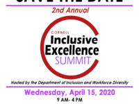 Save the Date Graphic for Cornell's Inclusive Excellence Summit 2020