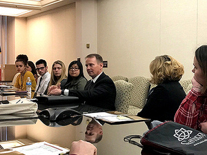 Rep. Nelson talks to students,  alumni, faculty, and staff from the  University of Pittsburgh at Greensburg